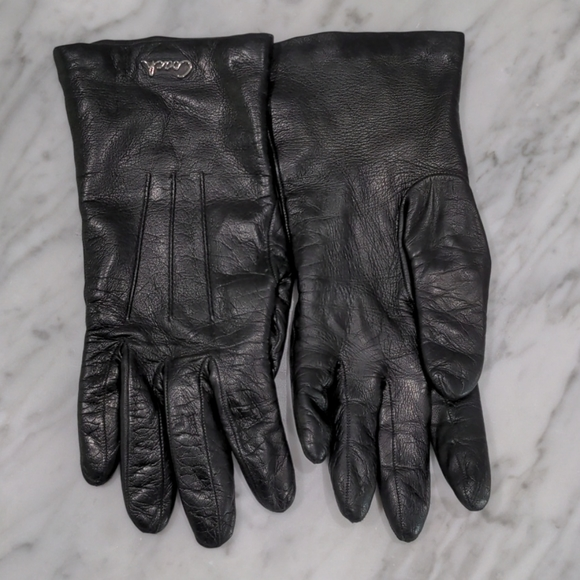 Coach lined leather gloves